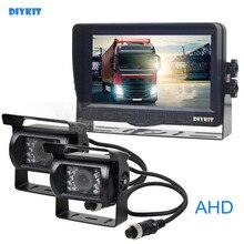 DIYKIT AHD 7 polegadas TFT LCD Monitor Do Carro Rear View Monitor 2×1300000 Pixels de Visão Noturna IR À Prova D' Água Câmera AHD 1V2