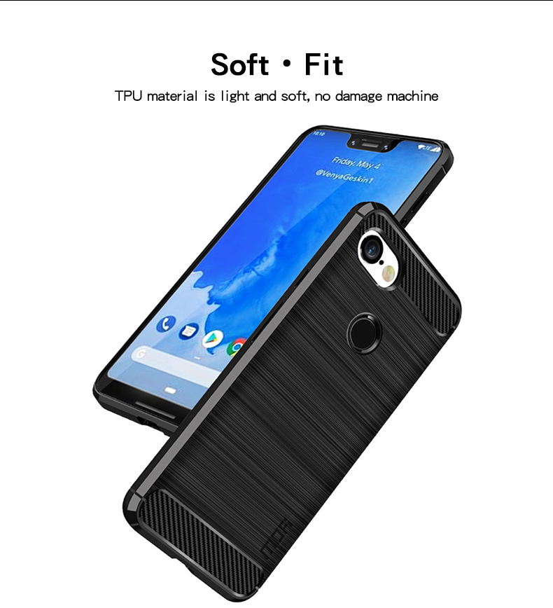 For Google Pixel 2 2XL Case Luxury Slim Armor Soft Silicone Phone Back Cover For Pixel 3 3XL Brushed Carbon Fiber Coque