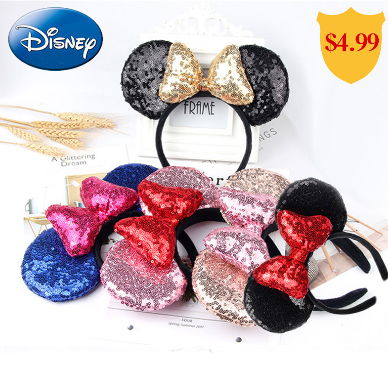 Disney Mickey Minnie Headband Accessories Plush Big Ear Hair Festive Cartoon Girls Party Ornaments Pretend Play Kawaii Toy Gifts