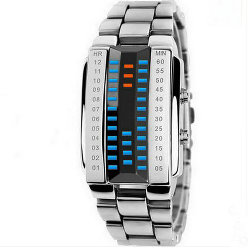 Multifunctional led electronic watch personalized 3d specular fashion chain steel strip metal waterproof lovers watch