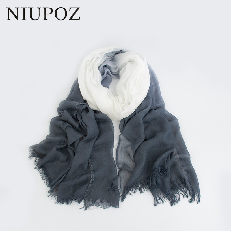 2018 New Design Modal Gradient Solid Color Women Scarf Dip Dye Long Soft Long Shawl Summer Muslim Hijab Silk Scarf&Wrap M200