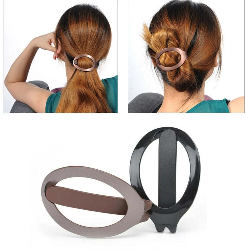 1pc Women Girls Soft Plastic Black Hair Clip Bun Maker Barrette Styling Tool New Fashion Hair Accessories