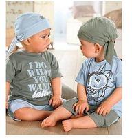 1 Set Retail Hat Shirt Short Pant 3pcs Baby Boy Monkey Model Shirt Suit Baby Cool
