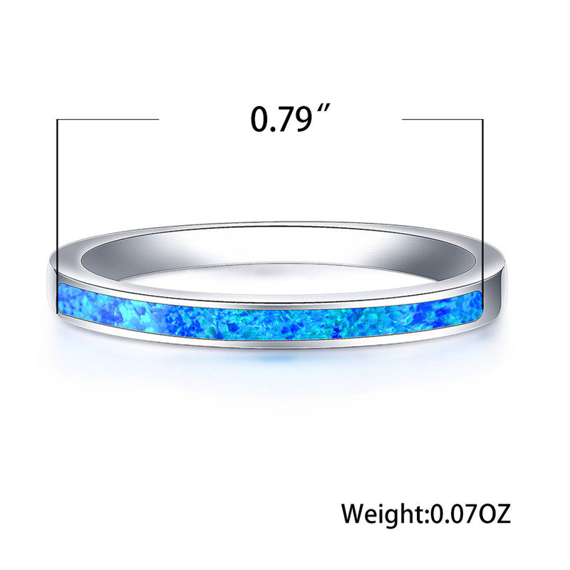 Engagement Rings Opal-Stone Promise Silver-Color Blue White Fashion Women Love Luxury