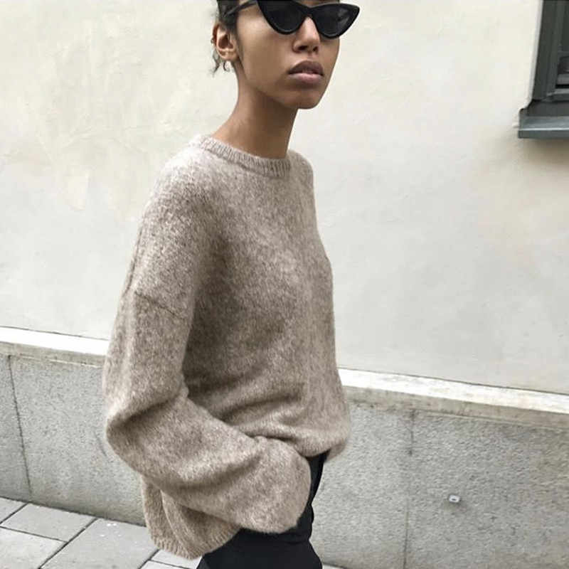 Women high quality winter brand warm runway sweater pullover jumper fashion wool knitted oversized mohair beige sweater knitwear
