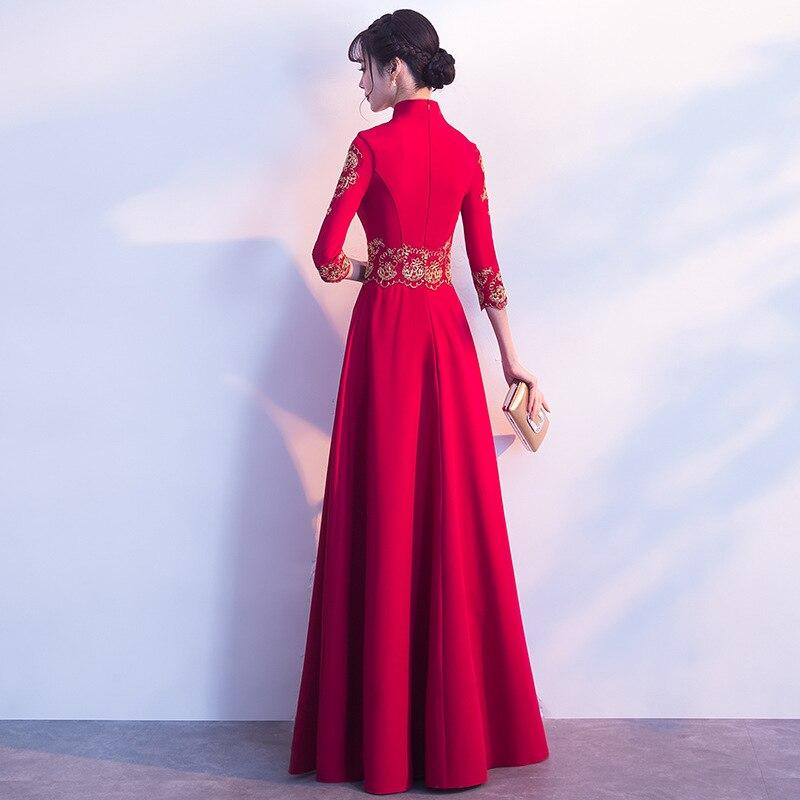 4 Mode Rouge Femelle Soirée Mandarin De 2 Rétro 3 1 Robes 2019 Robe Appliques Vintage Col Partie Longue Femme wUtxfpPq
