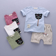 Summer Kids Bear Clothes Sets Short Sleeve Boy T-shirt Pants Suit Clothing Set Newborn Sport Suits Children Baby Boy Clothes