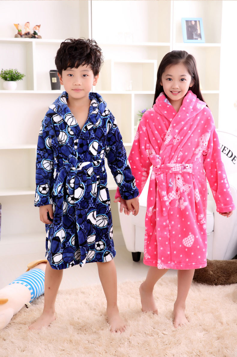 a47f083bef2c Autumn Winter Flannel Nightgown Children S Pajamas Thick Coral Boys ...