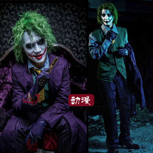 Customized Adult Batman Dark Night Joker Costume Wig Full Outfit Set Halloween Cosplay ...