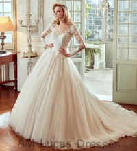 Luxury A Line Wedding Dresses With Long Sleeves Tulle 2017 Bridal Dresses Party Gowns Fairytale Princess