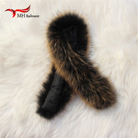 Real fur collar 100% genuine raccoon fur scarf 70cm winter for women men clothes collar used hot selling L#03
