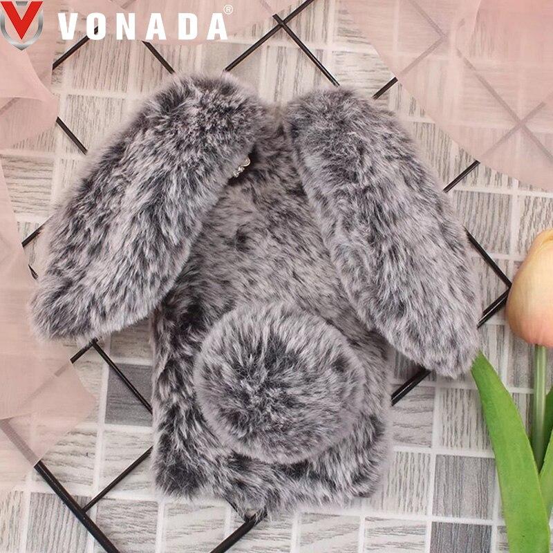 Vonada Winter Plush Case for Meizu U20 U10 M5C M2 M3 M5 M5s M6 Note E2 Cute 3D Rabbit Ears Fur TPU Diamond Soft Phone Case Cover