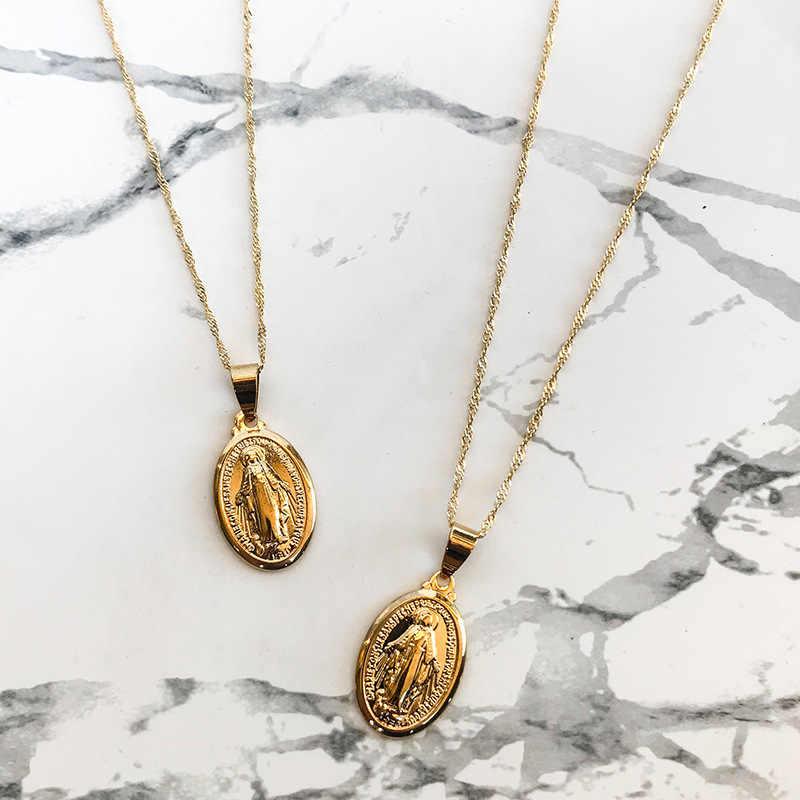 WTLTC זהב צבע בתולה מרי תליון לולאות שרשראות לנשים קטן זעיר מטבע קסם קולר סגלגל מדליון שכבות שרשרת