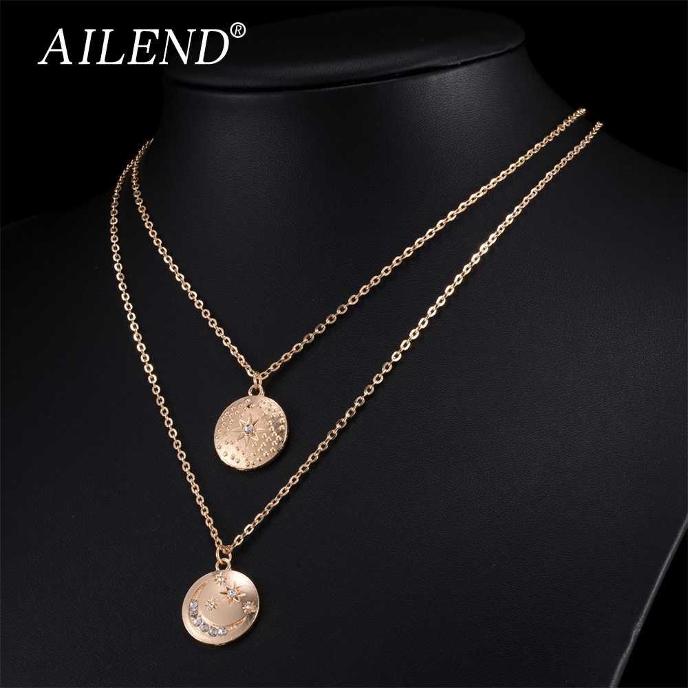 AILEND Ретро Луна Звезда кристалл кулон ожерелье леди двойное ожерелье ювелирные изделия богемные ювелирные изделия Модные плетеные ожерелье набор