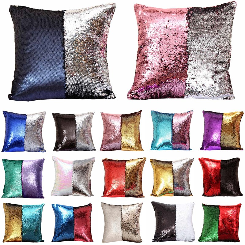 40*40cm Reversible Sequin Mermaid Throw Pillow Changing Color Cushion Cover Car Home Sofa Bed Decor Decorative Pillowcase 40043