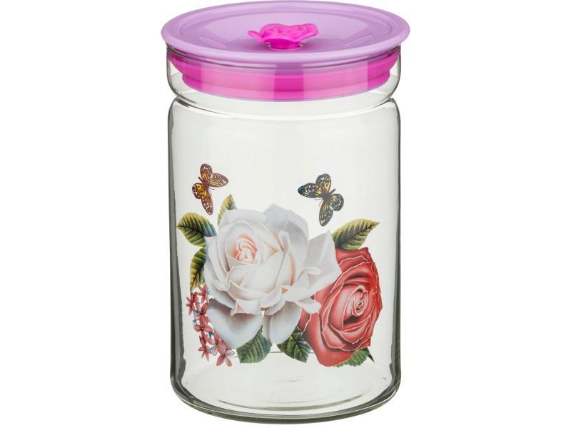 Банка для хранения AGNESS, 0,8 л, розовый