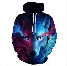 3D Digital starry wolf head print hooded sweatshirt