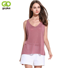 GOPLUS 2019 Sexy Spring Knitted Crop Tank Top Women V Neck Sleeveless T-shirt Female Long Plain top Vest Casual Camis Streetwear