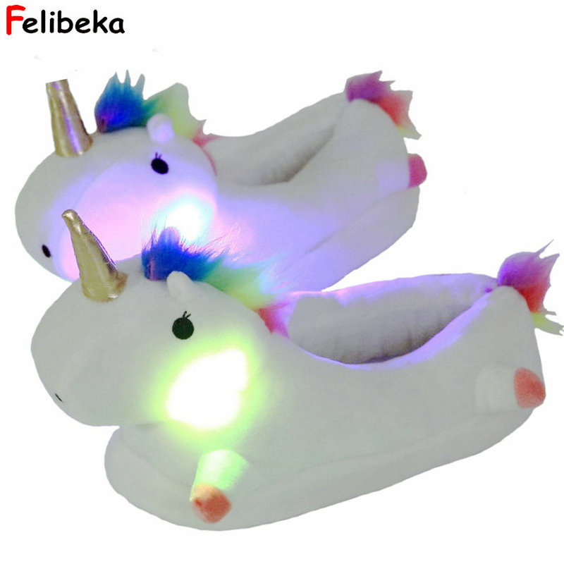 2018 new style Winter lovely Home Slippers Cartoon Plush Chausson Licorne White Shoes Women unicorn glowing slippers