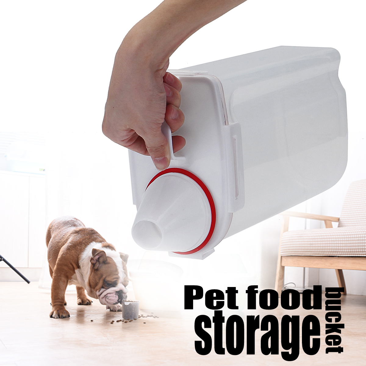 Pet Dog Feeder Cat Animal Food Storage Container Dry Dispenser Cup Large Capacity With Measuring Cup for Cats and Dogs