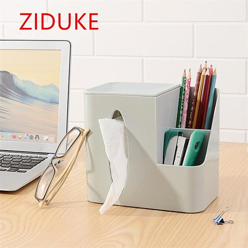 ZIDUKE Creative Multi-purpose Remote Control Box Tissue Box Desktop Plastic Paper Box Living Room Paper Towel