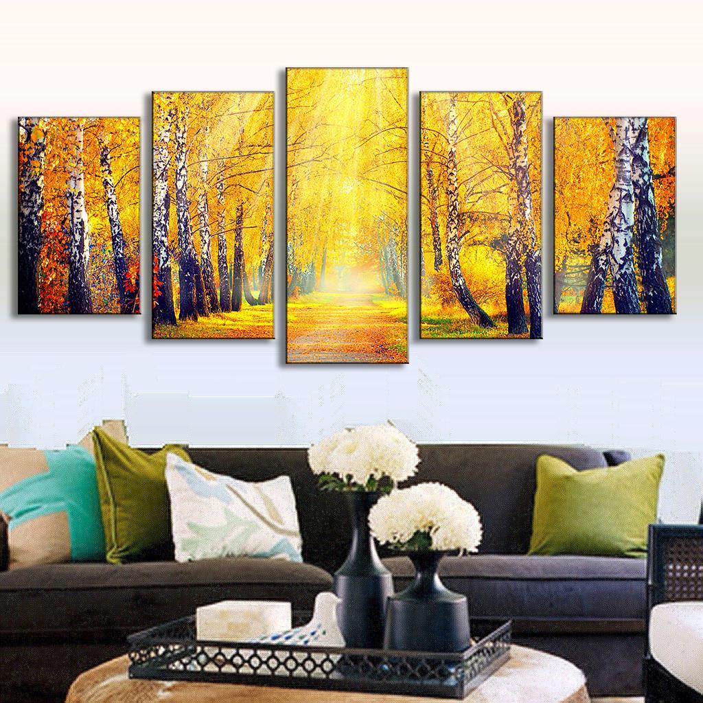 Online Shop Autumn Forest Landscape Canvas Printed Painting Posters ...
