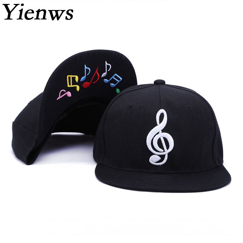 Yienws Mens Bone Gorras Planas Snapback Muziek Hiphop Baseball Caps Dames Heren Platte Hoeden Zwart Rechte Rand Full Cap YIC517