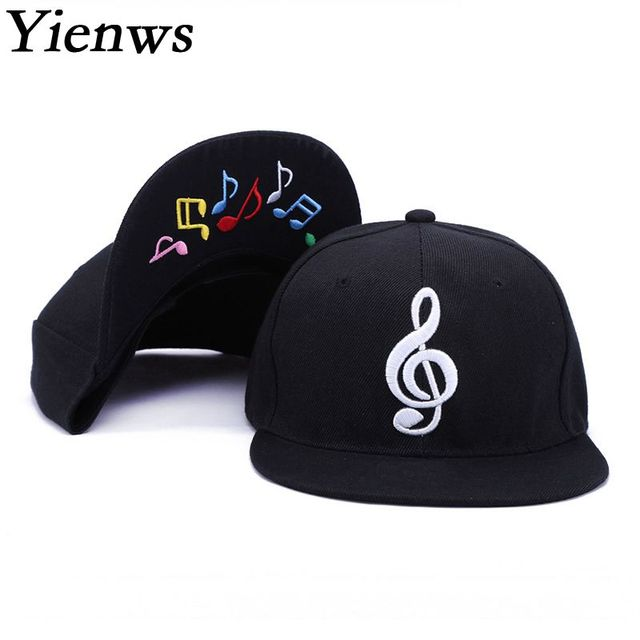Yienws Mens Bone Gorras Planas Snapback Music Hip Hop Baseball Caps Womens  Men Flat Hats Black Straight Brim Full Cap YIC517 dd99f89128d