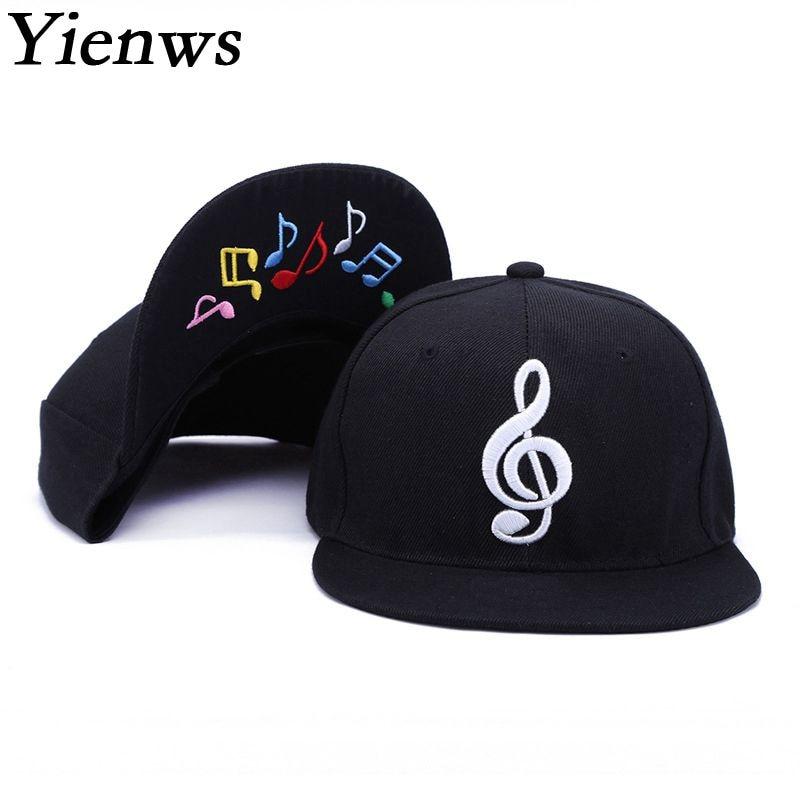 Yienws Mens Bone Gorras Planas Snapback Music Hip Hop   Baseball     Caps   Womens Men Flat Hats Black Straight Brim Full   Cap   YIC517