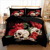 Wongsbedding Rose Skull Bedding Set Day of the dead Duvet Cover Bedclothes Twin queen king size 3pcs dropship