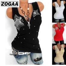 купить ZOGAA Plus Size S-5XL Women tanks Fashion Sleeveless Vest Tops V-neck Zipper Club Party Printed Casual Tunic Tank Top camis по цене 308.72 рублей