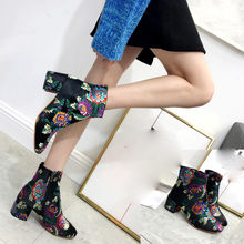 (Ship from US) Women s winter Boots Exotic Printing Embroidery Round Toes  Non-Slip Shoes Botas Mujer Invierno Waterproof High Heel Fashion Hot 9f54caceb221