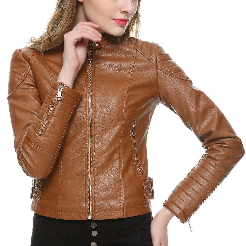2019 ყავისფერი შავი Faux ტყავის ქურთუკი ქალები მოკლე სუსტი ბრენდი Motorcycle Biker Jacket თეთრი ტყავის ქურთუკი Chaquetas Mujer 5 ფერები