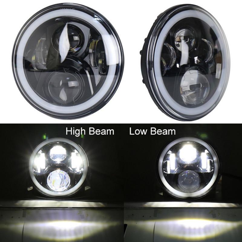 2018 2 PCS Rodada 7 Inch Auto LED Piscando Cor RGB Farol 50 w Hi/Lo feixe de 12/24 v sem APP Remoto para Wrangler19 RGB iluminação - 4