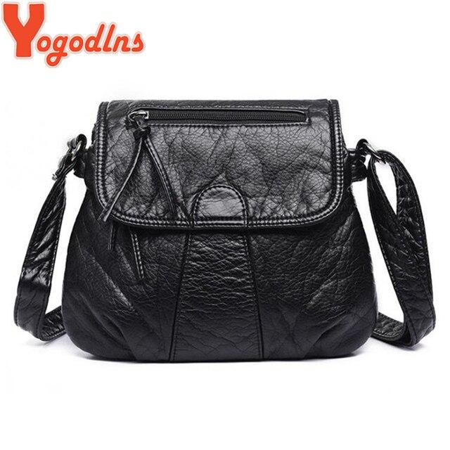 Yogodlns New Arrival Women Handbag Washed Leather Shoulder Messenger Bag Casual Square Bag Bolsa Feminina Crossbody Bags