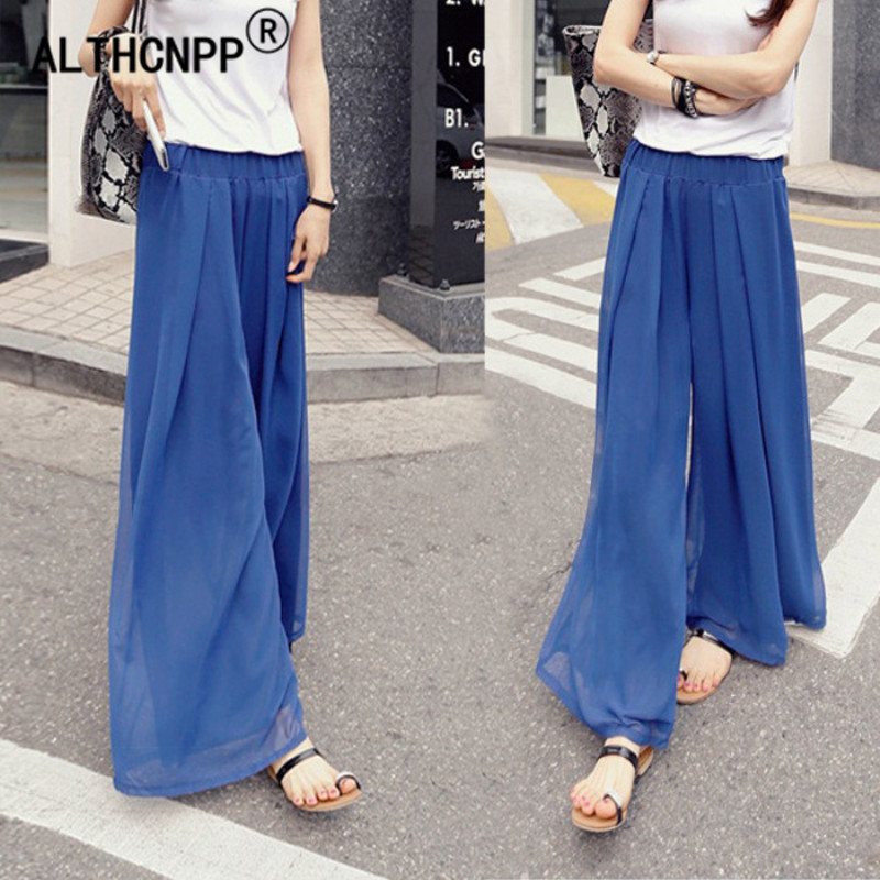 M-6XL Plus Size Women's   Pants   Summer Loose Wide Leg   Pants   High Waist Chiffon Skirt   Capris   For Women   Pants   Pantalon Femme