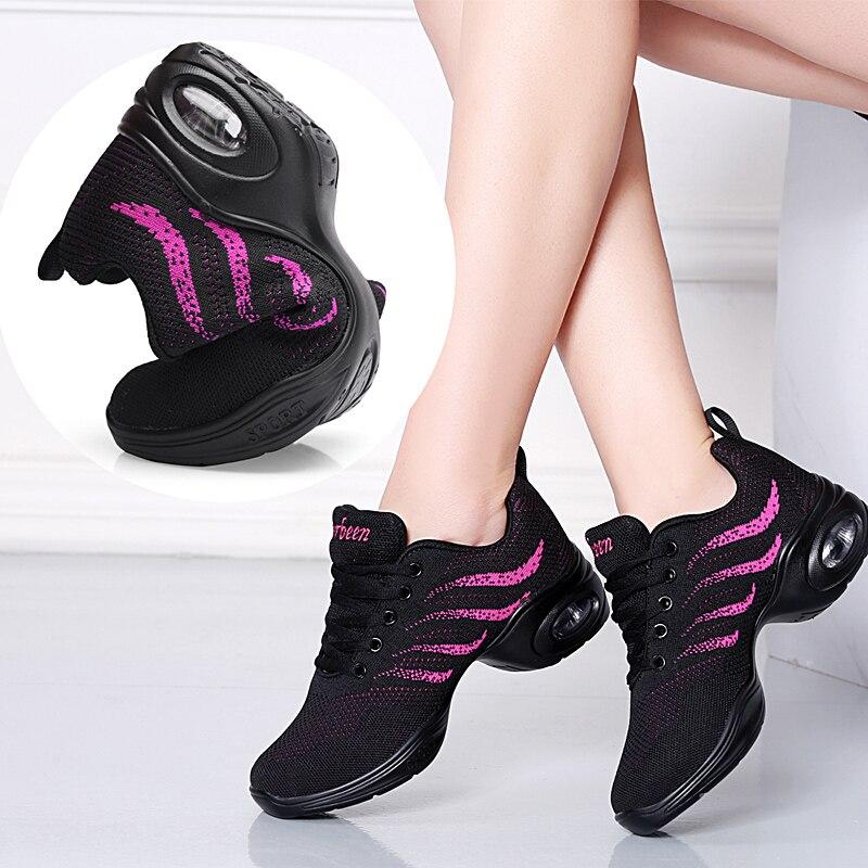 2019 Women Sport Feature Soft Outsole Breath Dance Shoes Four Season Profession Dance Shoes For Women Jazz Ballet Shoes Sneakers