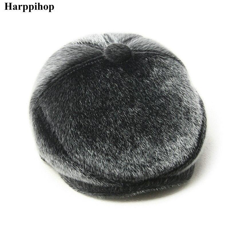 16bb7c3931a Harppihop fashion faux mink hair forward cap male winter warm hat ...