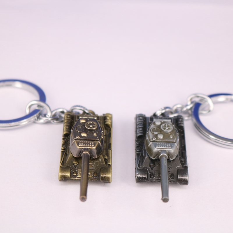 Men Strap Wot Game World of Tanks KeyChain Alloy Metal Tank Model Pendent Keyring gift key chain ring holder car Fans souvenirs image