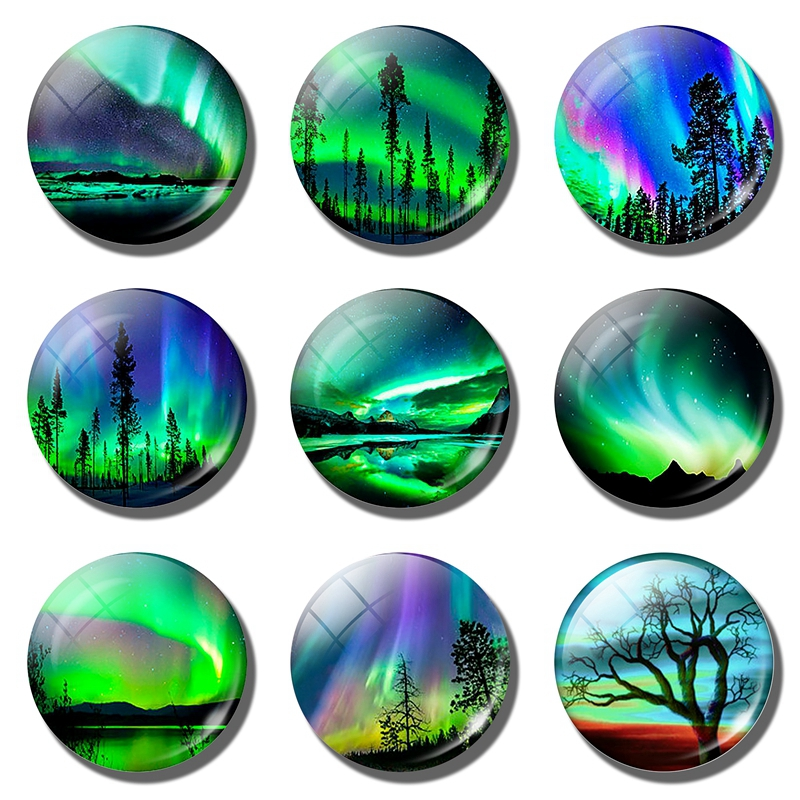Northern Lights refrigerator magnets Glow In The Dark fridge magnet Luminous fridge magnet souvenir Sticky notes Home Decoration in Fridge Magnets from Home Garden