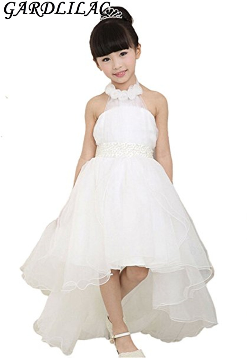 Gardlilac Organza Halter Asymmetric Flower Dress Long Tail First Communion Dresses For S White Pink Purple