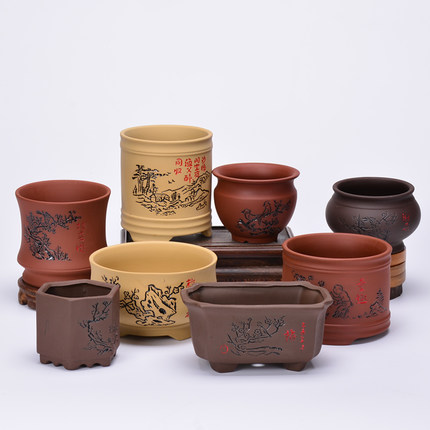 Purple Sand Bonsai Pot Coarse Ceramic Flowerpot Meaty Calamus  Indoor Potted Wenzhu Hand Color Yixing Thumb Small Creative