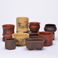 купить Purple sand bonsai pot coarse ceramic flowerpot meaty calamus  indoor potted Wenzhu hand color Yixing thumb small creative по цене 1285.69 рублей