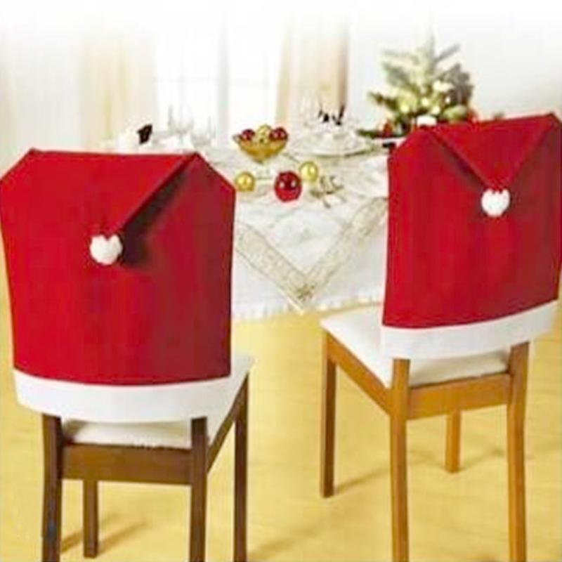 2-6PCS Santa Claus Red Hat Chair Back Cover Christmas Cover for Party Holiday Merry Christmas Ornaments New Year Decor