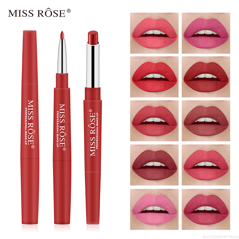 MISS ROSE 30 Color 2 In 1 Red Matte Lipstick Lip Liner Pencils Waterproof Long Lasting Pigments Nude Color Lip Tint Makeup TSLM2
