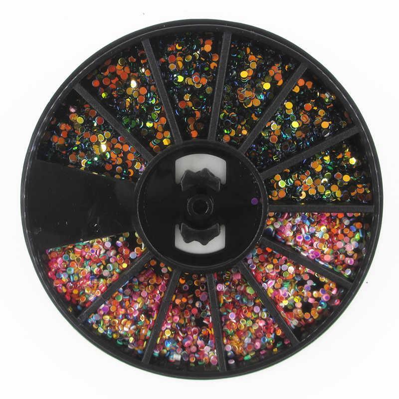 1PC מעורב צבע זיקית אבן נייל ריינסטון קטן סדיר חרוזים מניקור 3D נייל אמנות קישוט גלגל אבזרים
