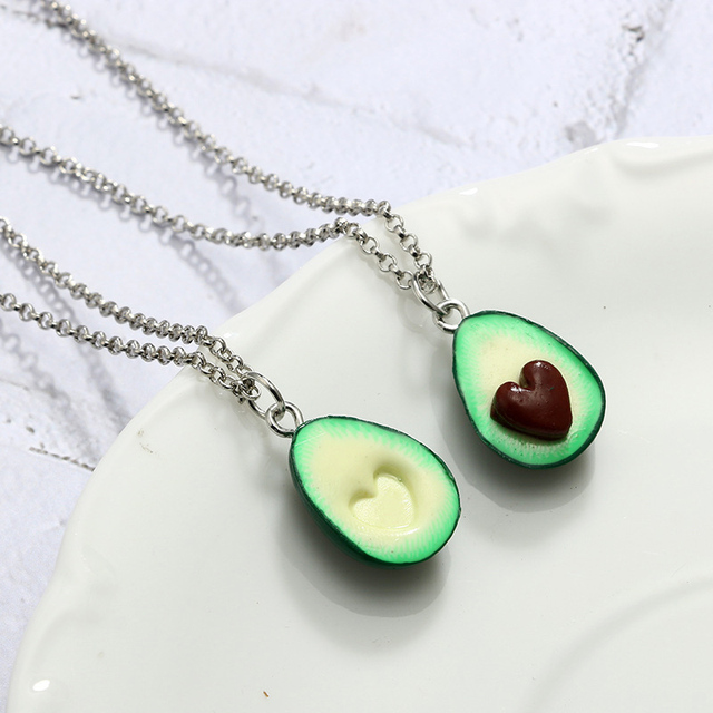 Avocado Fruit Pendant Heart  Best Friend Necklace