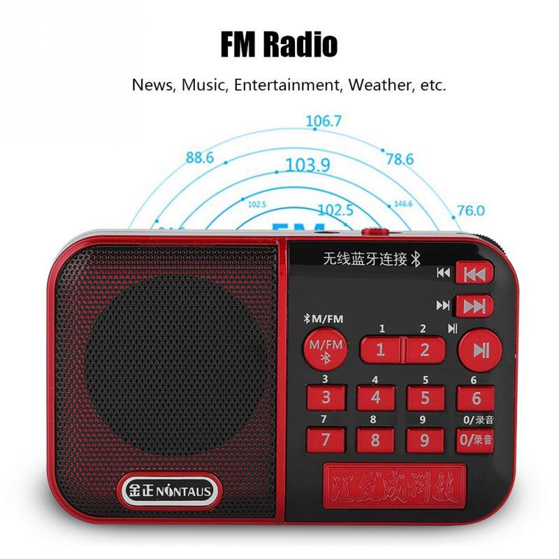 VBESTLIFE Digital FM Radio Portable HiFi Bluetooth Speaker Noise Cancelling MP3 Music Player