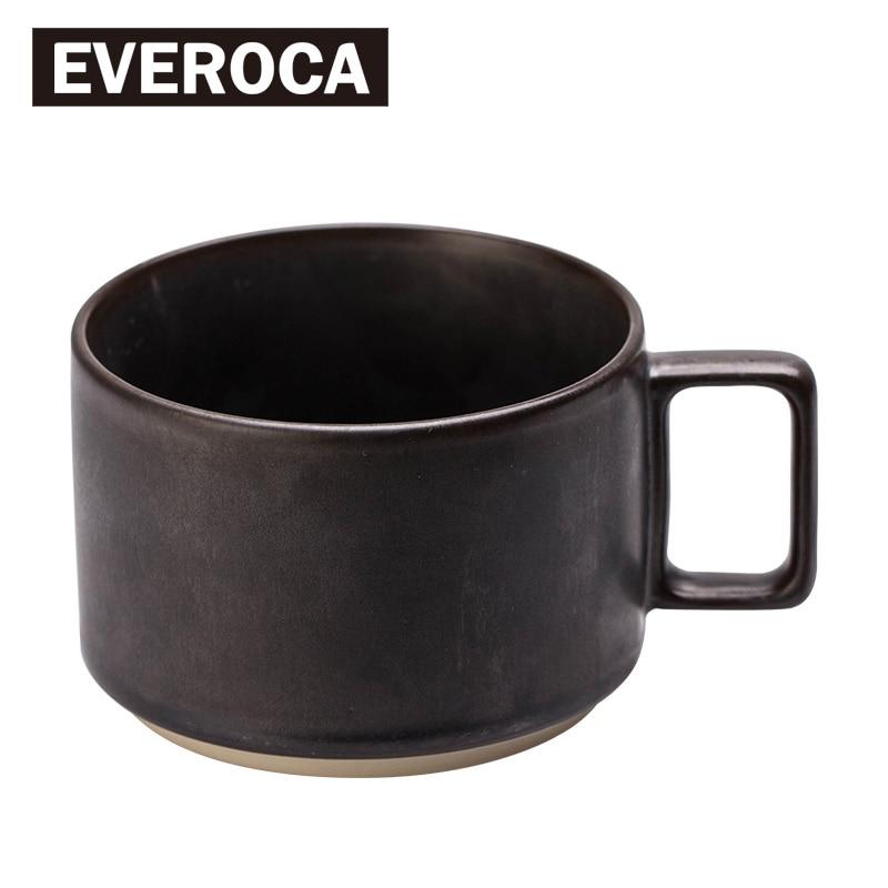 Everoca Vintage Metal Style Ceramic Mug Square Handle Matte Coffee Milk Mug Office