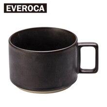 Everoca Vintage Metall Stil Keramik Becher Quadratischen Griff Matte Kaffeemilch Becher Büro
